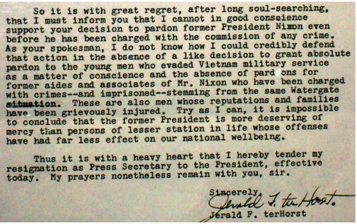 President Ford's press secretary Jerald terHorst wrote him to quit in protest over Richard Nixon pardon, September 1974: