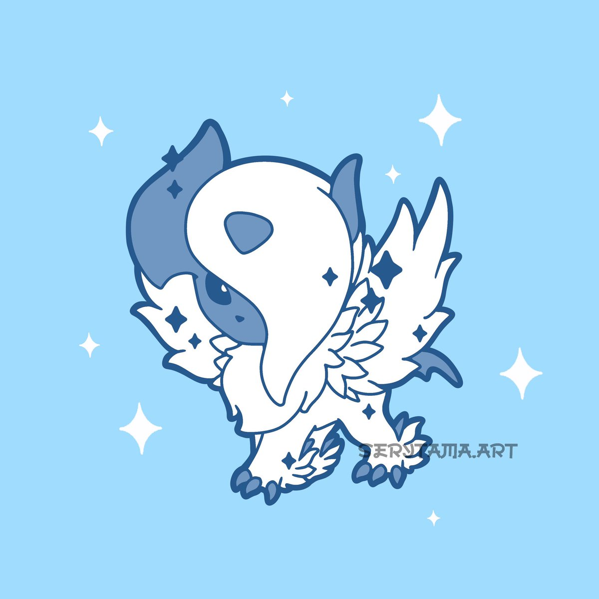 Mega absol 💙 actually one of my favorite Pokémon ever as well 😭 I always felt bad for the way it was misunderstood by people  . . . . . . #kawaii #cute #absol #pokemon #pokémon #pokemonart #pokemonartwork #fanart #animefanart #chibi #anime #manga #digital #digitalart