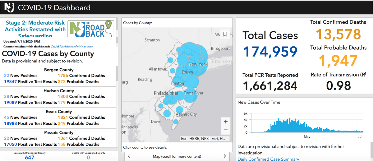 #COVID19UPDATE: NJ has 438 new positive cases of COVID-19, pushing our cumulative total to 174,959.  Sadly, we must report an additional 49 deaths among COVID-19 confirmed-positive residents, pushing our total to 13,578 lives lost.  For more data, visit