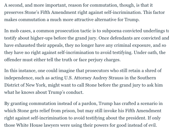 Here's why Trump commuted Stone's sentence, rather than pardoning him. New, from @BarbMcQuade