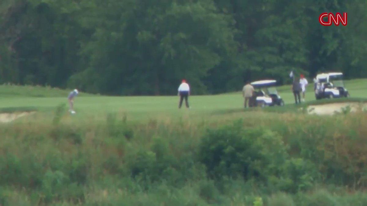 WATCH: President Trump golfs at his club in Virginia on Saturday.