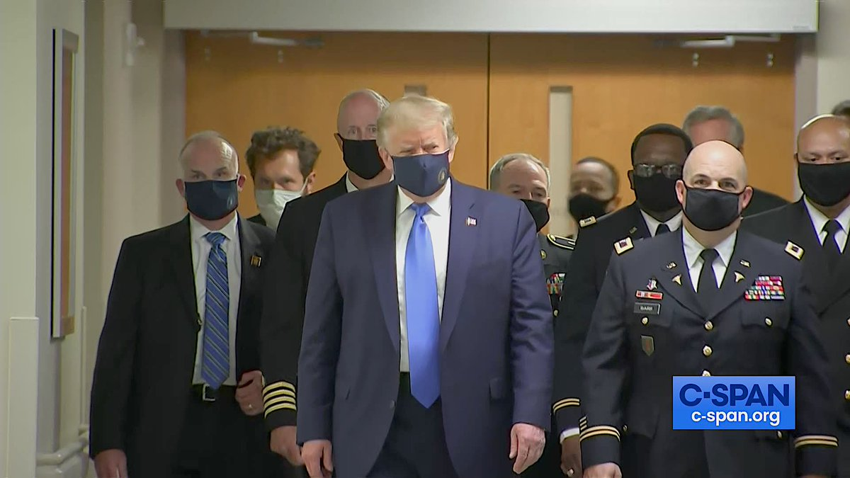 President Trump wearing a mask visits Walter Reed National Military Medical Center today during the COVID-19 pandemic.