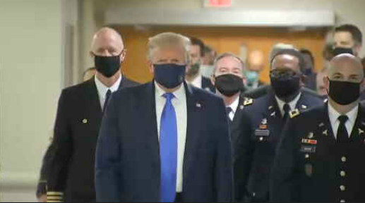 BREAKING: Trump wears a mask in public for the first time as he visits Walter Reed
