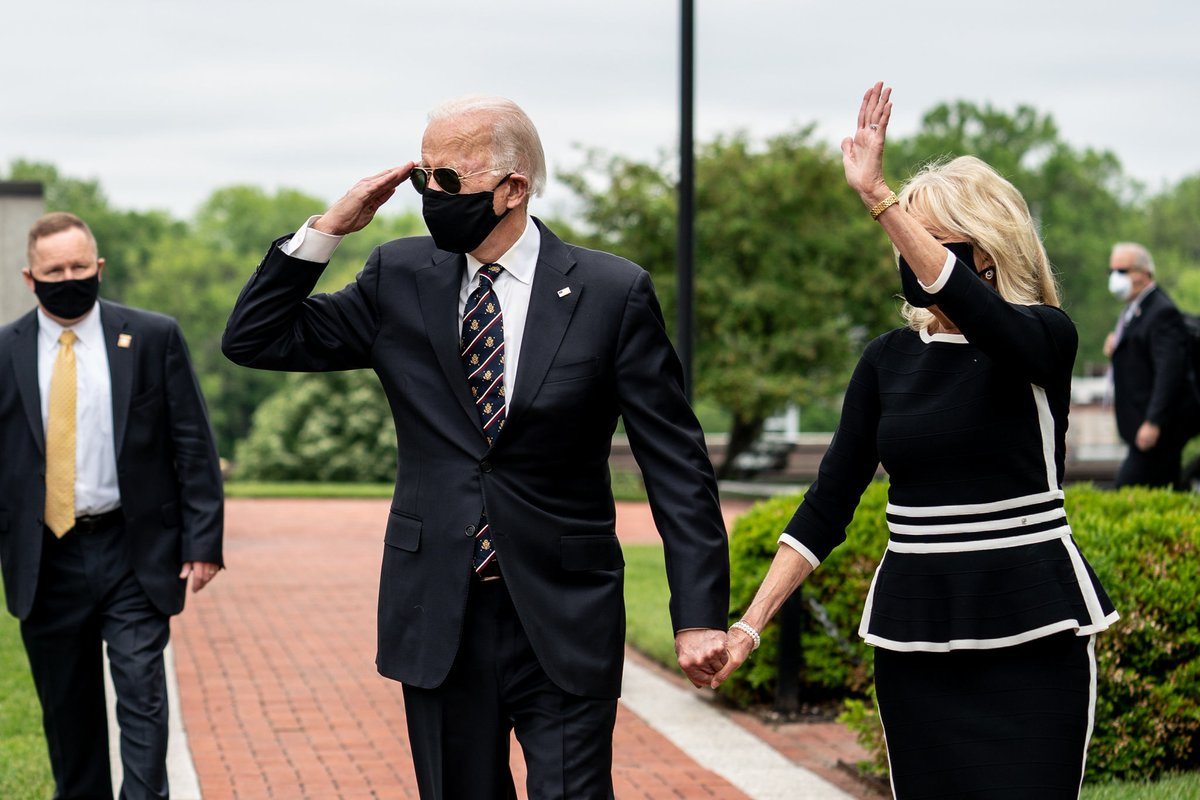 Joe Biden and Dr. Jill Biden wearing masks in May in their first public appearance after the CDC recommended Americans do so.  It took Trump 99 days to fasten a cloth covering to his face while in public and set an example.  The Bidens made a point of educating the public.