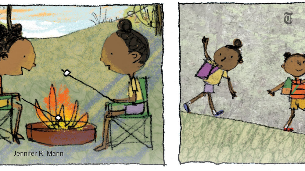 Ernestine has much to discover on her first camping trip, in Jennifer K. Mann's new picture book: Lake swimming might include live fish. Hiking is not the same thing as walking. But there are wonderful things as well