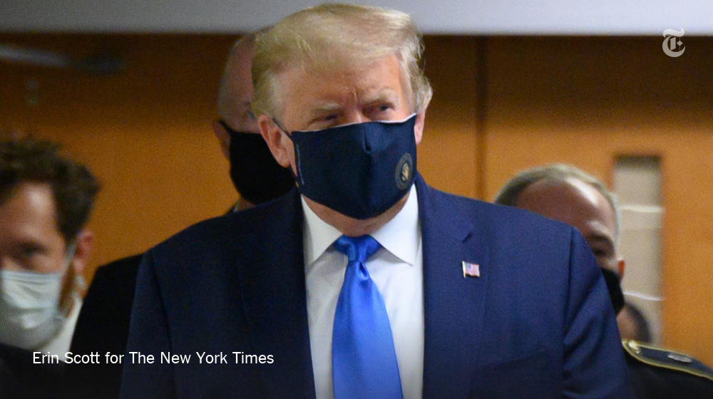 President Trump on Saturday wore a mask in public for the first time, after months of resistance. He wore the mask after repeated urging from aides that it was a necessary message to send to Americans.