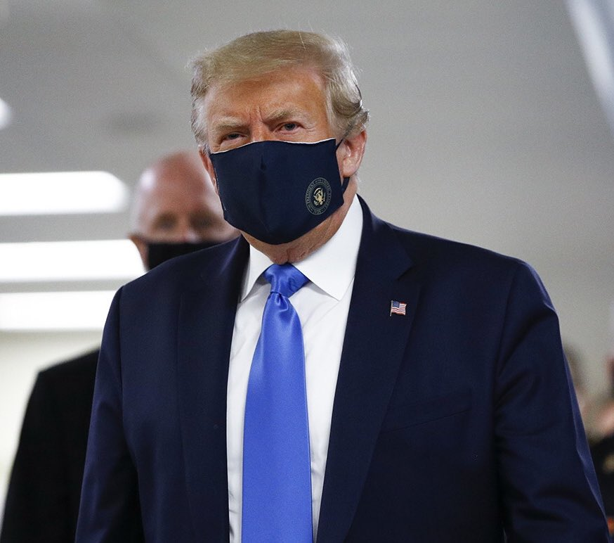 Pres. Trump has now worn a mask in public for the very first time.