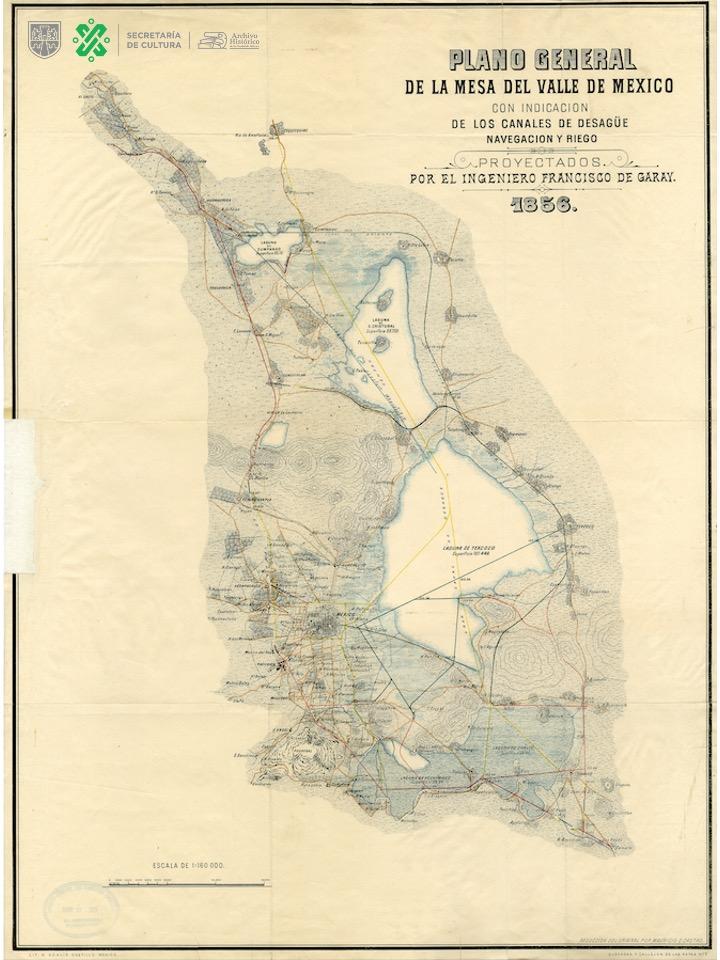 🚢Este mapa de 1856 muestra la situación general de los lagos y canales de navegación, desagüe y riego que existían en el Valle de México al mediar el siglo XIX.   👁️Para apreciar sus detalles descárgalo aquí 👉  #CapitalCultural
