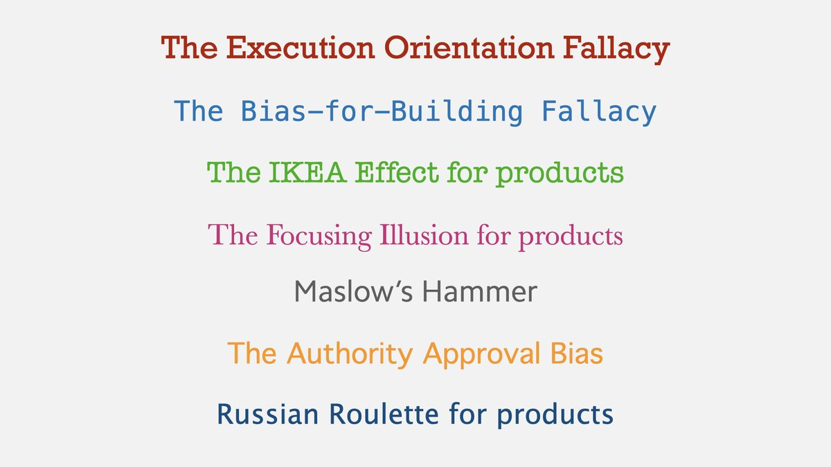Why do smart product people & teams often build products with mediocre or no impact?  A cautionary thread of biases and fallacies we encounter when building products👇🏾  1/10