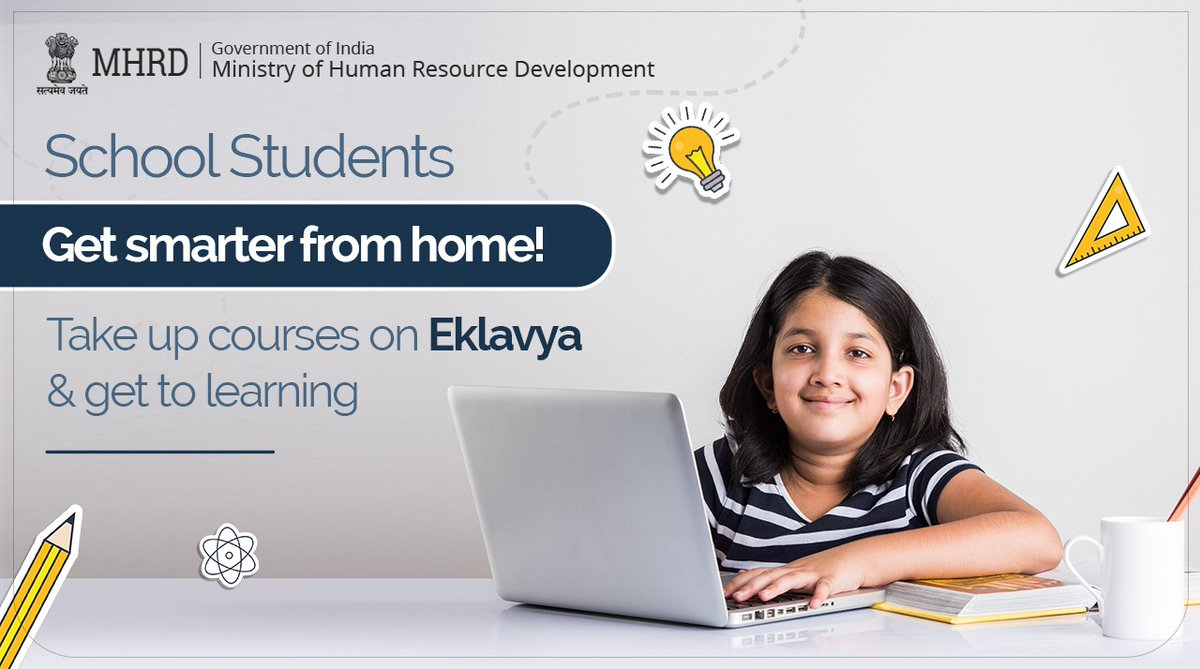 Students! Since you are unable to attend school, why don't you use this time to learn something new and interesting? Explore #EKLAVYA to access a wide variety of learning resources.