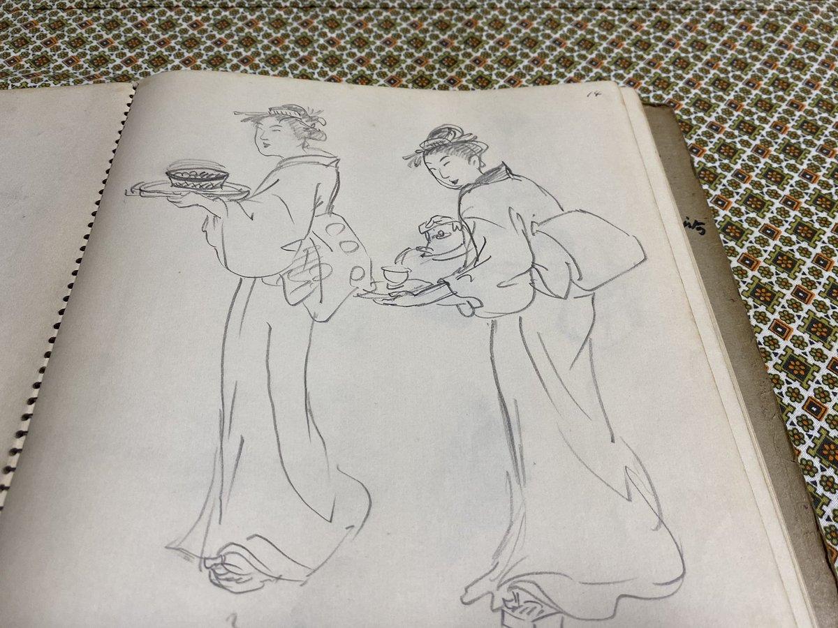 test ツイッターメディア - お菓子の香梅の誉の陣太鼓の包装紙のために祖父が描いた資料の一部。 絵心の無い私には、絵の良し悪しは分かんないけど、熱心に調べて描いた祖父の横顔が目に浮かびます。 https://t.co/l9xavcfzk9