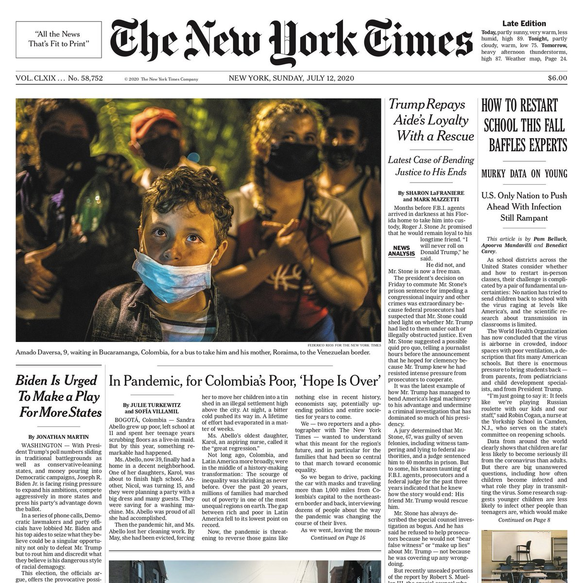 A 9-year-old Venezuelan boy who walked 250 miles across Colombia to get back home to Venezuela is on the cover of today's NYT. He is one of millions of migrants whose lives in new countries have been shattered by the pandemic.