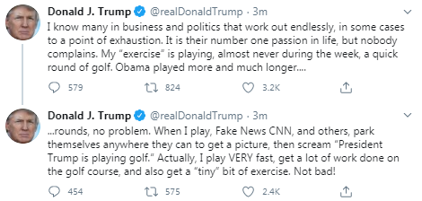 Trump claims Obama played more rounds of golf. This is false. Obama played around 100 rounds by this point; Trump is well over 200.  And the reason this is a story isn't because POTUS is golfing, but because of all the times he attacked Obama for doing what he now does even more.