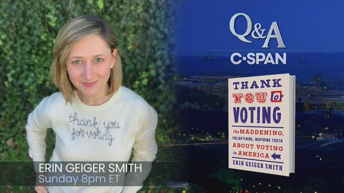 TONIGHT: Q&A with Journalist Erin Geiger Smith (@erin_gs)on the history of voting in the United States and some of the issues surrounding voting today, including low voter turnout, voter suppression, and the reliability of voting by mail - 8pm ET on C-SPAN