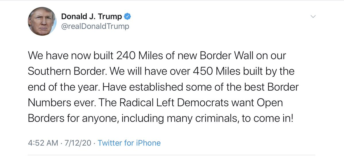 """1.  Only 3 new miles of wall have been built.   2.  No Democrat is advocating """"open borders.""""  This tweet is a Monumrnt to lying."""