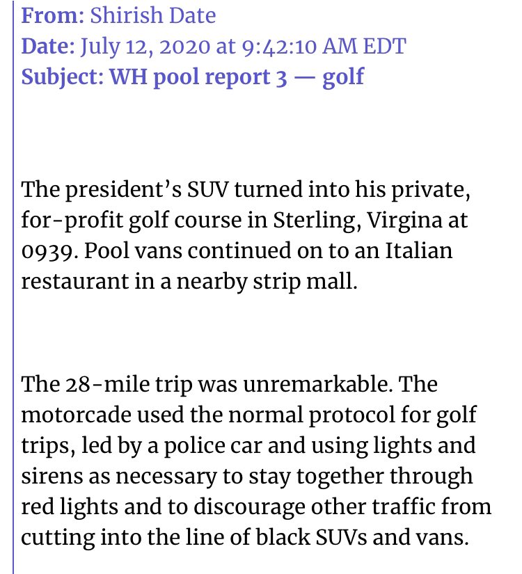 """From @svdate's pool report: Trump was greeted by protesters at his golf course this morning, including """"one dressed as the grim reaper,"""" carrying a scythe and invoking the 137,000 dead from coronavirus."""