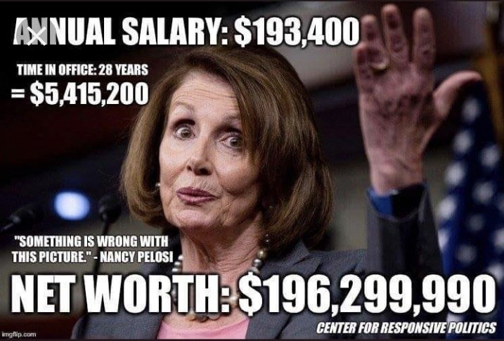 Nancy Pelosi is a wolf, in sheep's clothing. It only takes a sociopath, to watch people without healthcare suffer, and to make getting rich off of those people a career.   #PelosiMustGo because she's the most corrupt, disgusting do nothing fraud in politics.