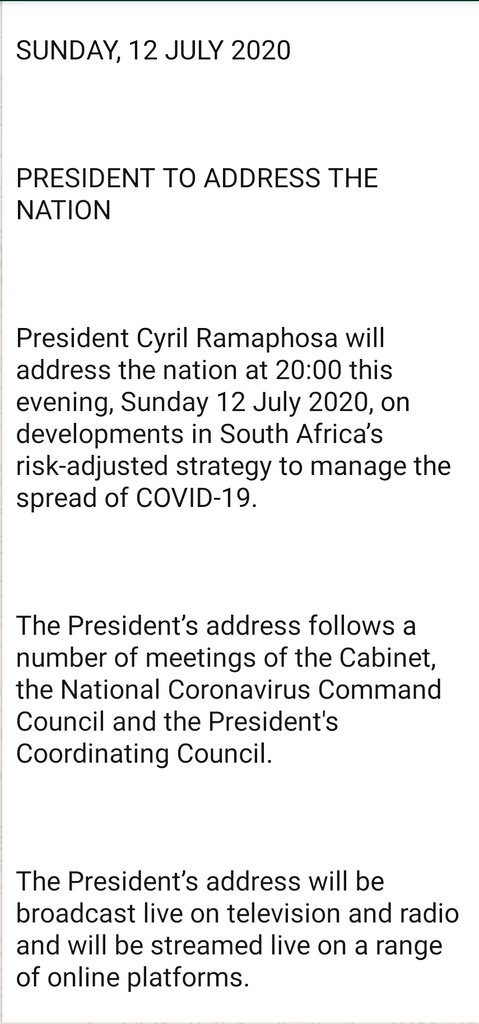 JUST IN:  President Cyril Ramaphosa's address to the nation will be at 8pm this evening.  Catch it on all #SABCNEWS platforms.. https://t.co/IJ2PurwqKA