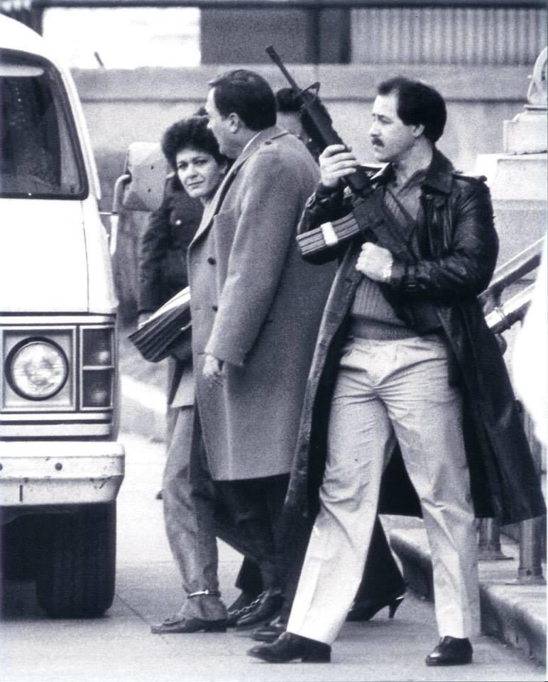 Kerik escorting Susan Rosenberg after her 1985 conviction for possession of 640 pounds of explosives. The convicted terrorist today is a fundraiser for #BlackLivesMattter... the racist Marxist organization.
