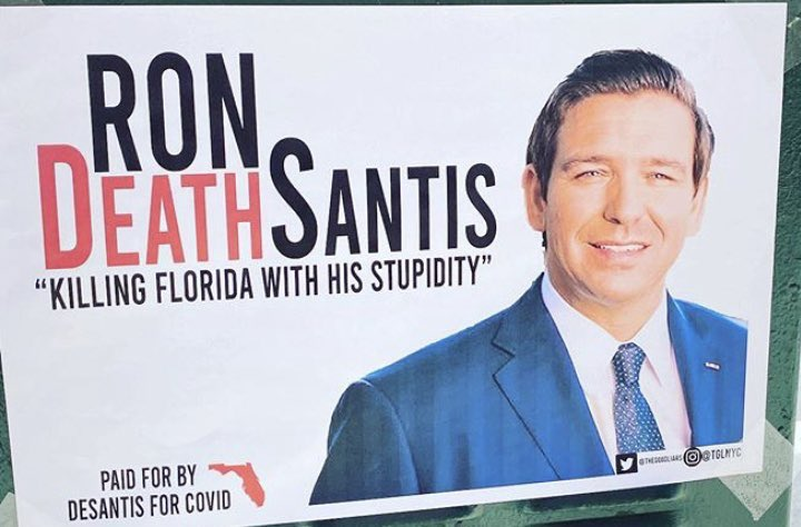 Hey @RonDeSantisFL We love your new nickname! You are literally killing off your constituents with your stupidity! Let's get this trending #RonDEATHSantis #DeSantisKilledFloridians4Trump #DeSantisResign
