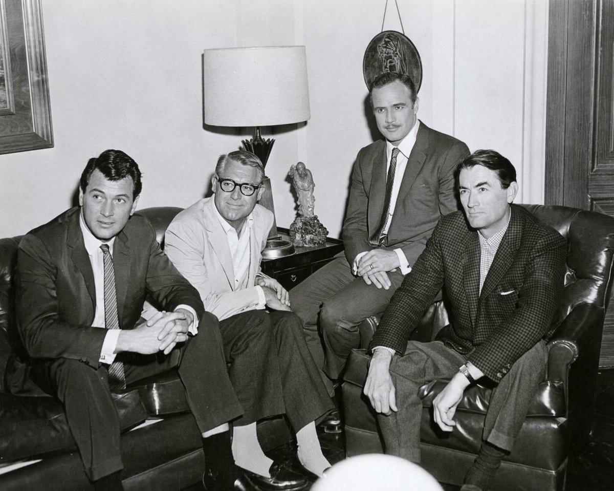 rock hudson, cary grant, marlon brando and gregory peck, 1962