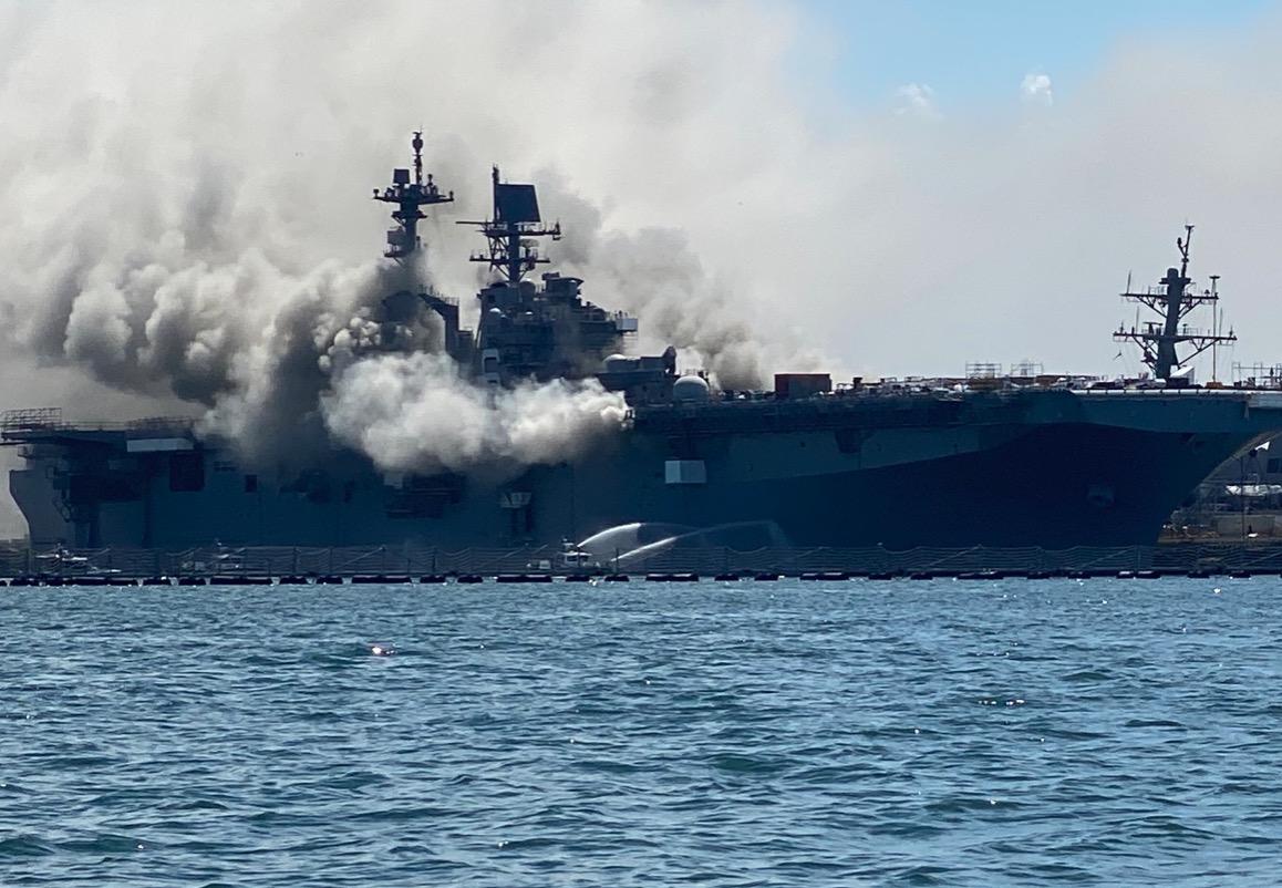 Very serious fire has broken out on board assault ship USS Bonhomme Richard alongside in San Diego.
