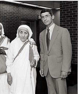 Dr. Fauci with Mother Teresa and Donald Trump with one of HIS friends.