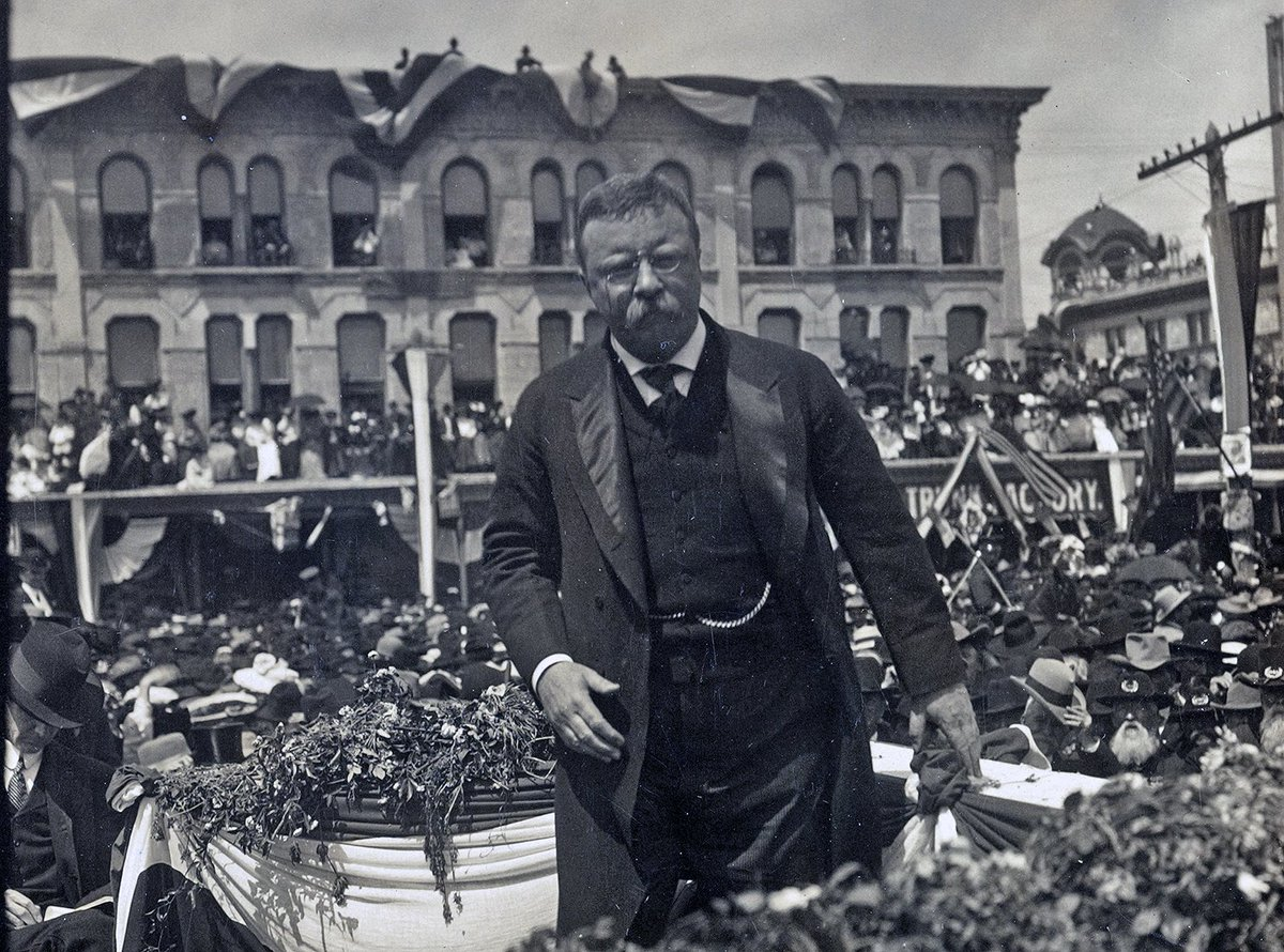 President Theodore Roosevelt makes a speech in San Antonio on April 1, 1905.  BULLY!