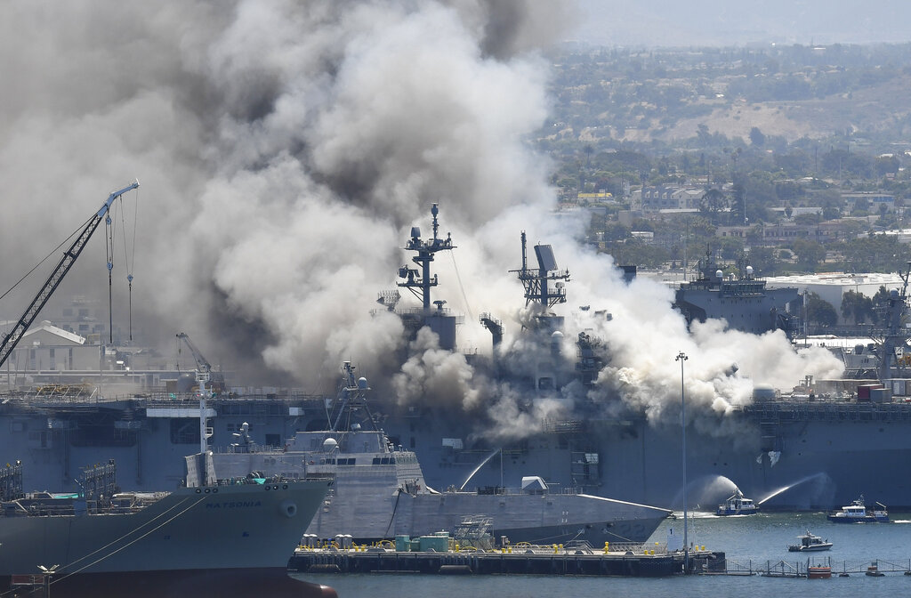 At Least 21 Injured After Fire Breaks Out On Navy Ship At San Diego Base  #OANN