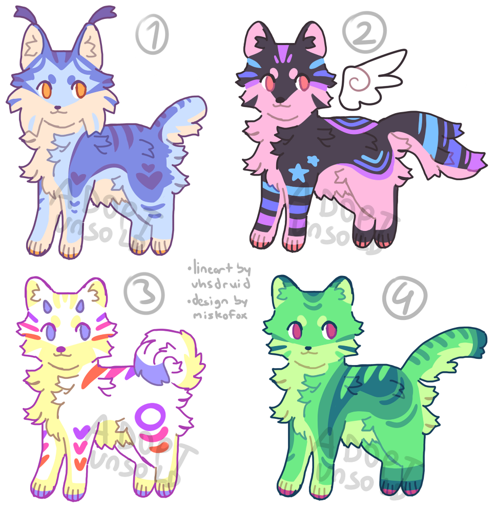 ✨ADOPT BATCH✨ - Taking offers of 7 USD or above for each! - Bases by @/vhsdruid !!! - Reply or DM to claim!  RT's would be much appreciated <3 #furry #furryart #furryartist #furryadopt #adoptable #adoptables @TheDealersDen @FurryAdopt @adoptafur @BuyFurryArt