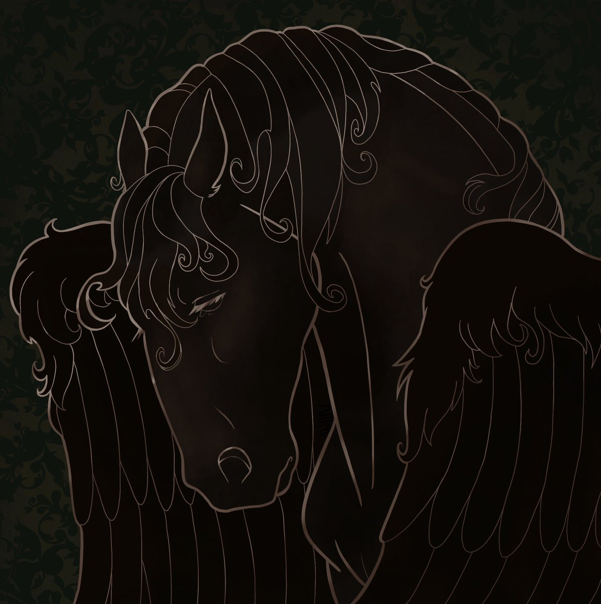#NewProfiIePic finally did some art for myself of my horse character, was trying to get something that looked like metal on stone or something I rly like how it looks, maybe if y'all are interested I could offer them as commissions #furryart
