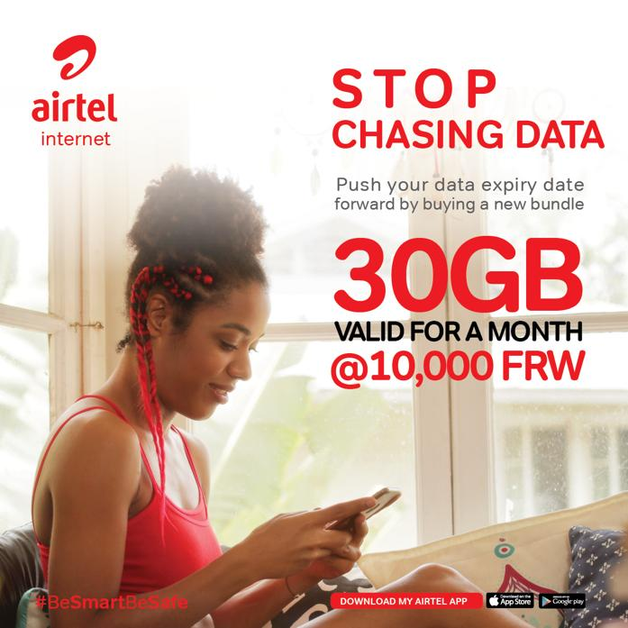 Start your day & week with @airtelrw, buying your monthly data pack of 30GB at Rwf10, 000. In case you don't exhaust it at the end pf the 30 days, the remaining data is transferred to your next bundle. It is reliable & fast. #MukaziKose #BeSmartBeSafe