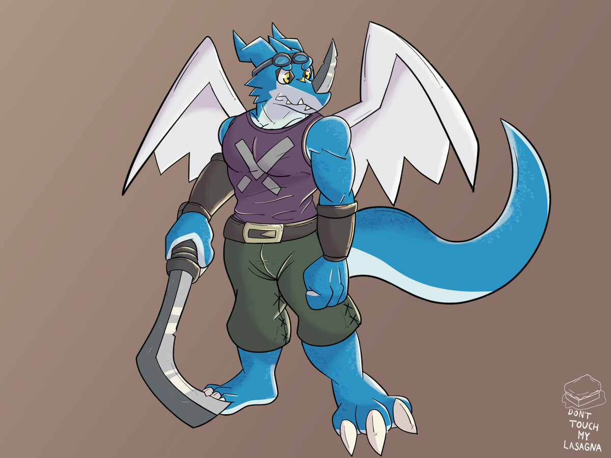 I enjoyed drawing this exveemon, he's ready to the adventure! My goal this year is hitting 1K, so I really really appreciate your follow and retweet 🙏🙏 #exveemon #digimon #fanart #furry #furryart #furryfandom