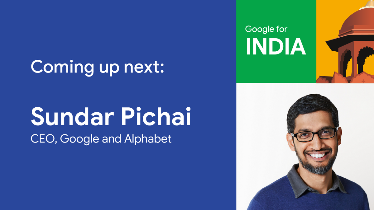 Next up at #GoogleForIndia, we have @sundarpichai, CEO of Google & Alphabet, sharing with us the milestones India has crossed in its journey towards digitisation. Tune in now ➡️   #G4IN