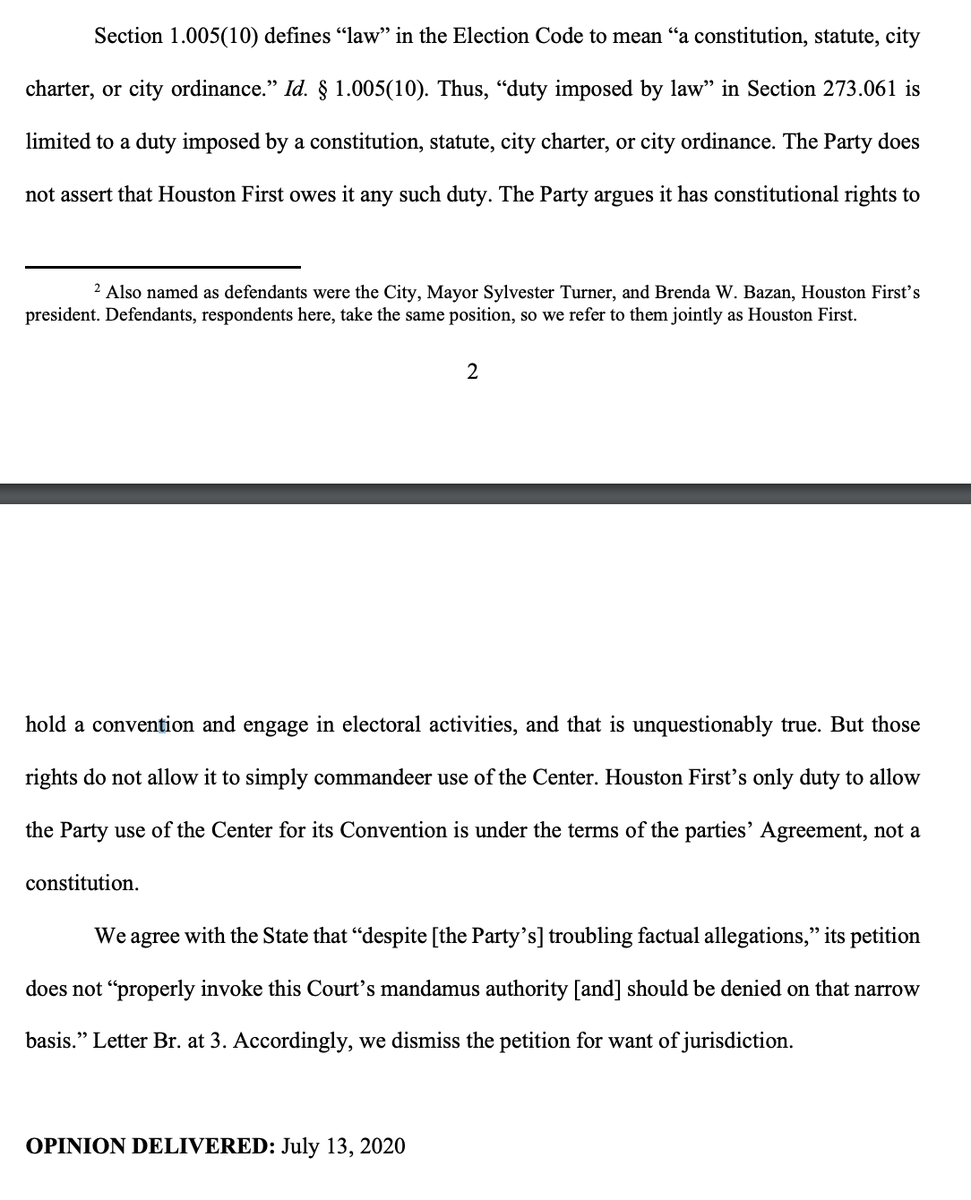"""In per curiam opinion, #SCOTX says @TexasGOP """"argues it has constitutional rights to hold a convention and engage in electoral activities, and that is unquestionably true. But those rights do not allow it to simply commandeer use of the [@GRBCC].""""  #txlege"""