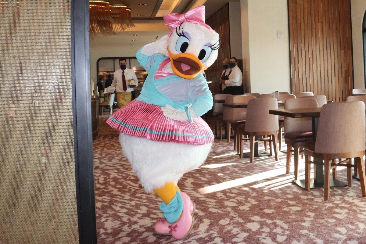 #DaisyDuck joined us for a socially distant character dining at #TopolinosTerrace! #SocialDistancing #DisneysRivieraResort #Riviera #CharacterDining #WDW #WaltDisneyWorld #DisneyDucks #デイジーダック