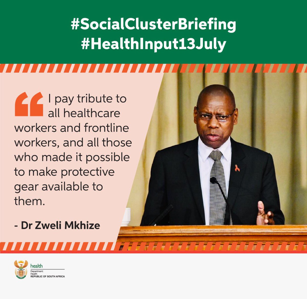 I pay tribute to all healthcare workers and frontline workers, and all those who made it possible to make protective gear available to them. #SocialClusterBriefing #HealthInput13July #NewNormal