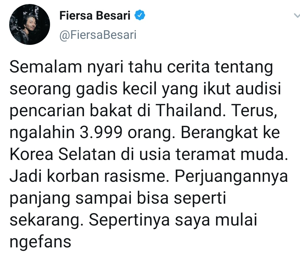 """A famous Indonesian writer & musician talks about #LISA: """"I just heard there's a lil girl from Thai who defeated 3999 ppl from one auditionDepart to SK at a very young age, but she becomes a victim of racism. Hmm well she looks so adorable and I will start to be her fan""""  #LALISA"""