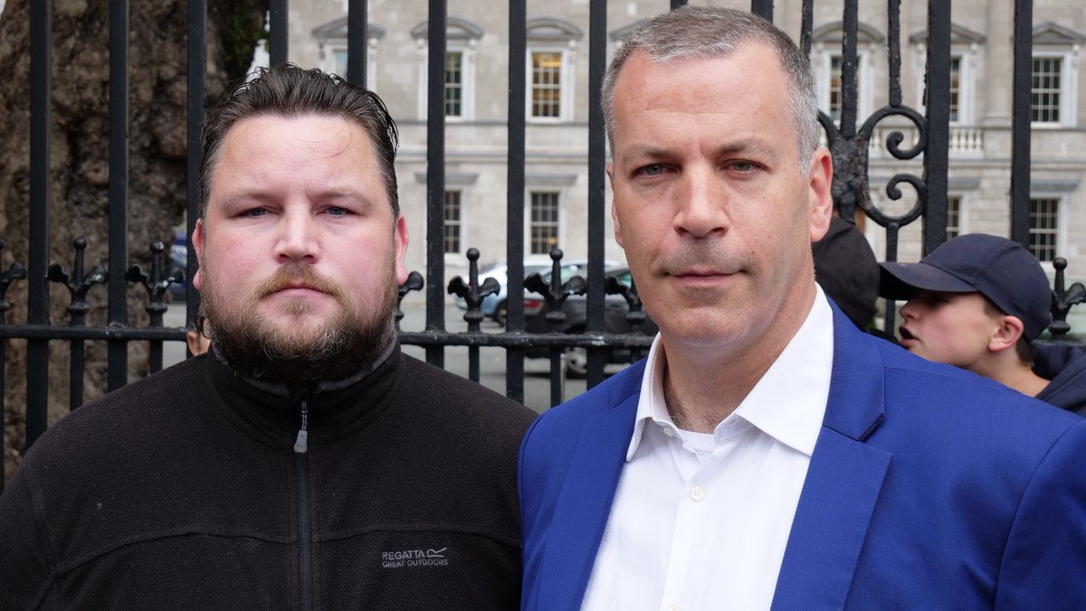 The President of the Irish Freedom Party @hermannkelly and  independent guest speaker @johnconnors1990 at the #HandsOffourKids rally on Saturday.  #Irishfreedom
