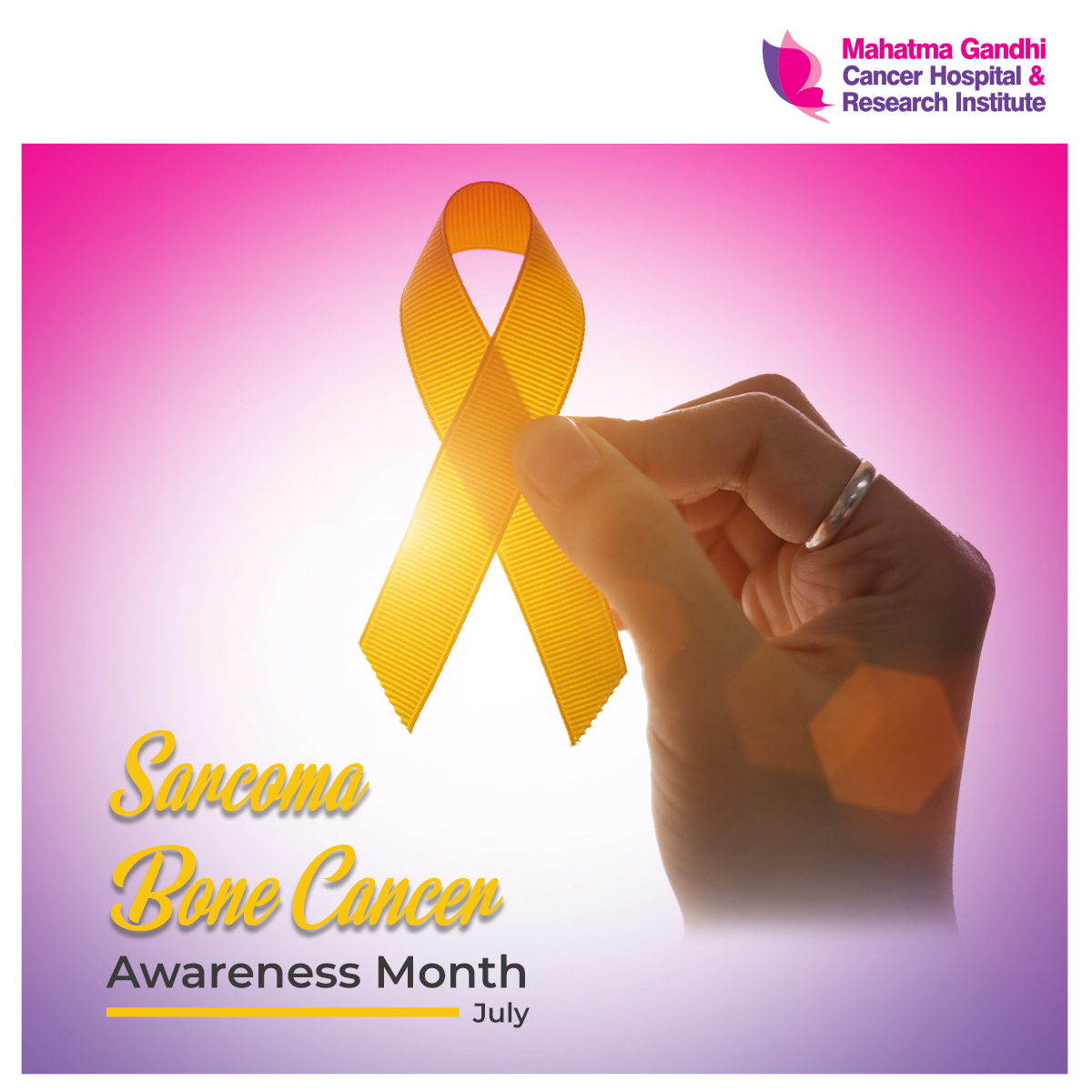 July is Sarcoma/Bone Cancer Awareness Month! People can survive sarcoma if their cancer is diagnosed early, when treatments can be effective and before the sarcoma has spread to other parts of the body. #MGCHRI #CancerCare #SarcomaCanceraAwarenessMonth