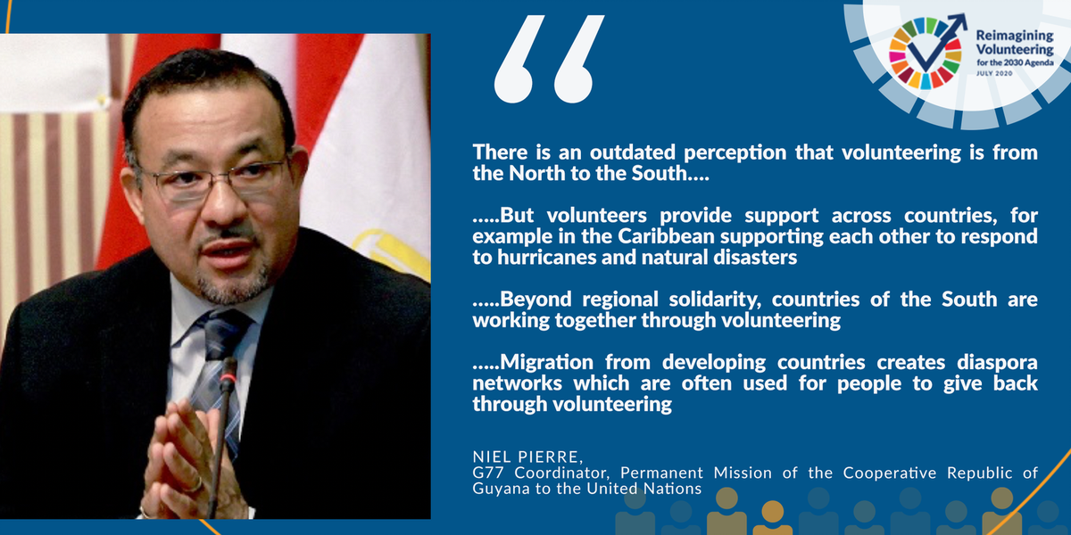 What are 3 ways in which developing countries are #volunteering together under the #2030Agenda? #G77 Coordinator @UNGuyana  highlights the importance of volunteering #cooperation in the #Caribbean and beyond #VolunteerSDGs #HLPF2020 #GTM2020