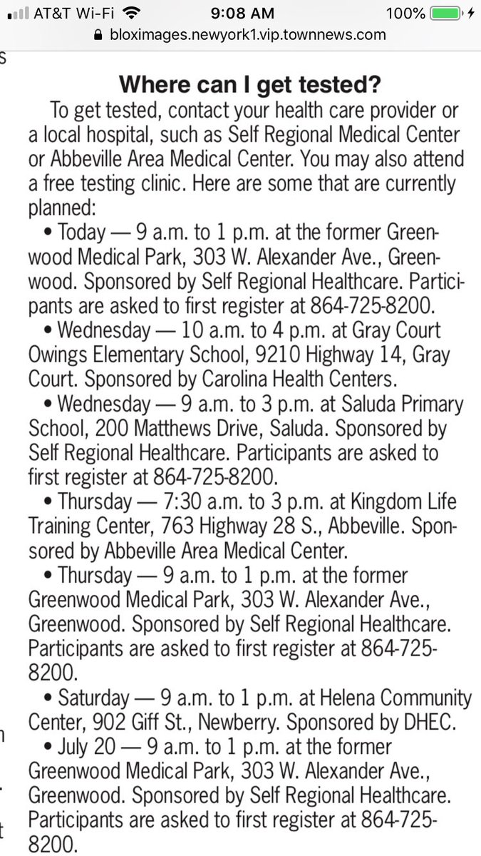 Here is a list of free COVID 19 testing clinics in the Greenwood, Abbeville, Saluda and Newberry Counties this week. Please allow for at least an hour of wait time as you make plans to go. #COVID19tests