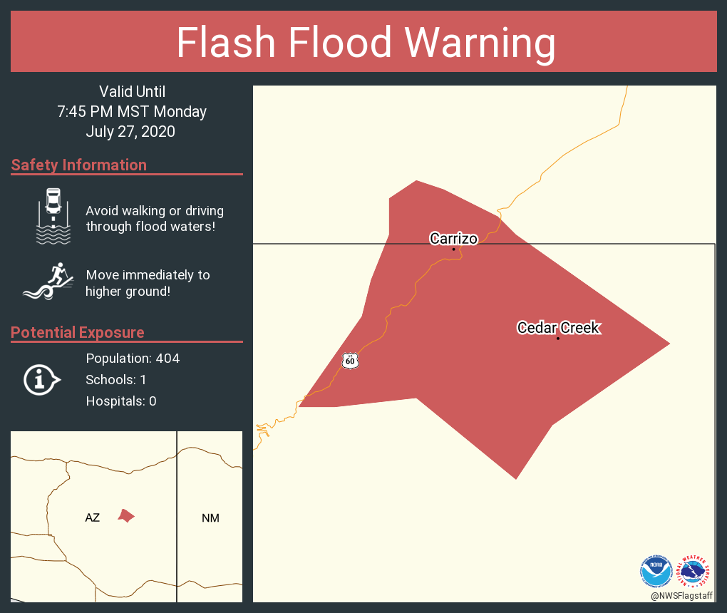 RT @NWSFlagstaff: Flash Flood Warning including Cedar Creek AZ, Carrizo AZ until 7:45 PM MST