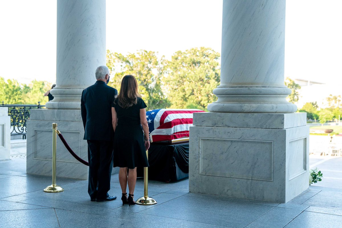 Today, @SecondLady and I paid our respects to Congressman John Lewis at the United States Capitol. John was a great man whose personal courage and decades of public service changed America forever. God Bless the memory of John Lewis. May his example ever inspire.