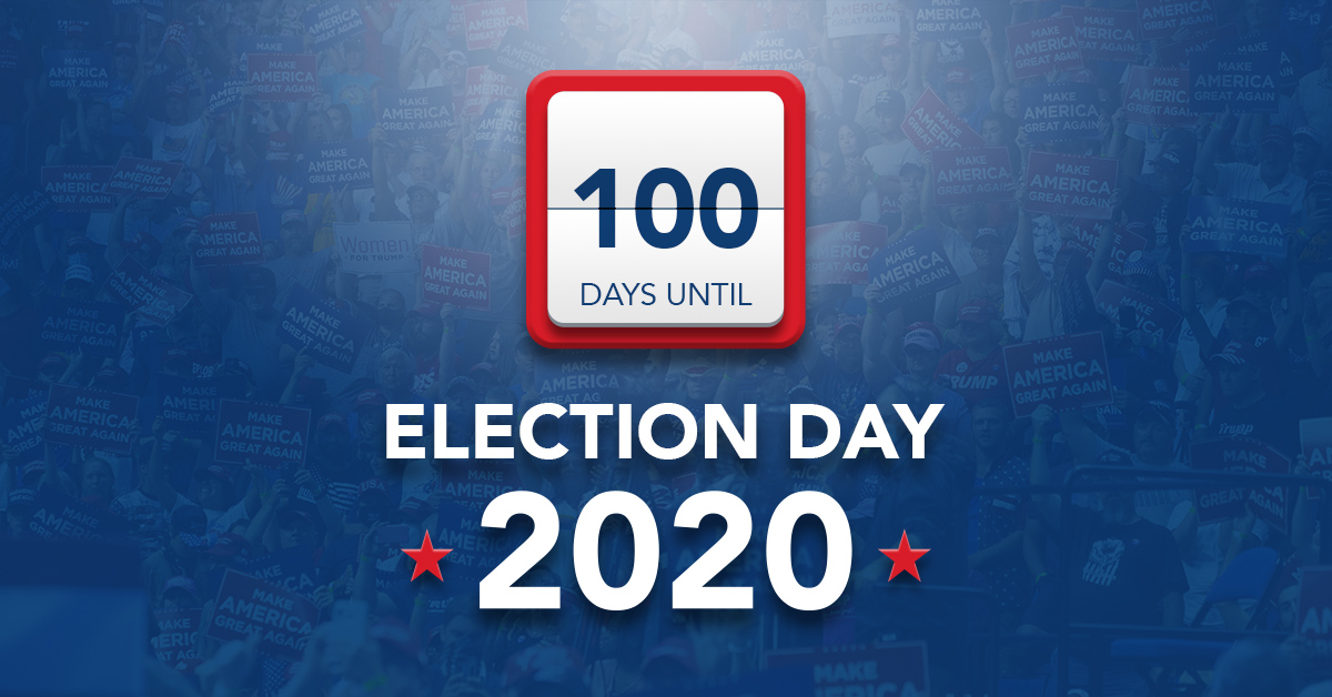 We're 1️⃣0️⃣0️⃣ days out from ELECTION DAY 2020!   RT if you SUPPORT @realDonaldTrump and the GOP!