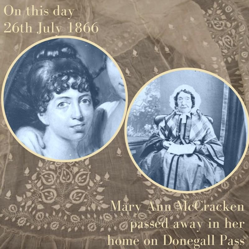 Mary Ann McCracken passed away #OnThisDay 1866 having celebrated her 96th birthday on 8th July that year. The renowned philanthropist, abolitionist and social reformer lived through some of the most turbulent years of Irish history. #HERstory #Belfast