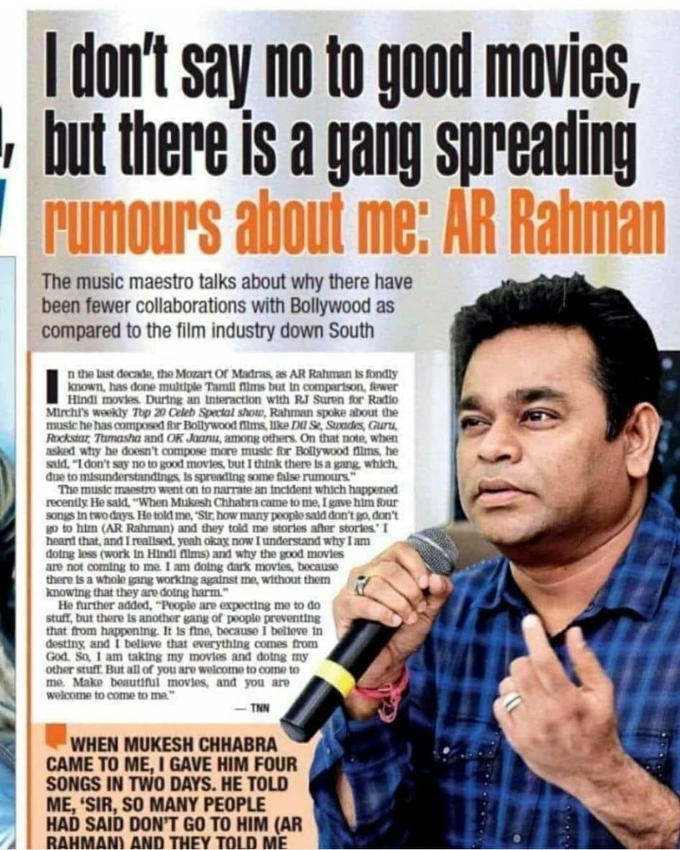 Bollywoodiyas have cancelled Rahman. Imagine. We are being denied the genius of Rahman coz of some nepotistic turds.   A white collar corporate is still the least worst meritocratic system.