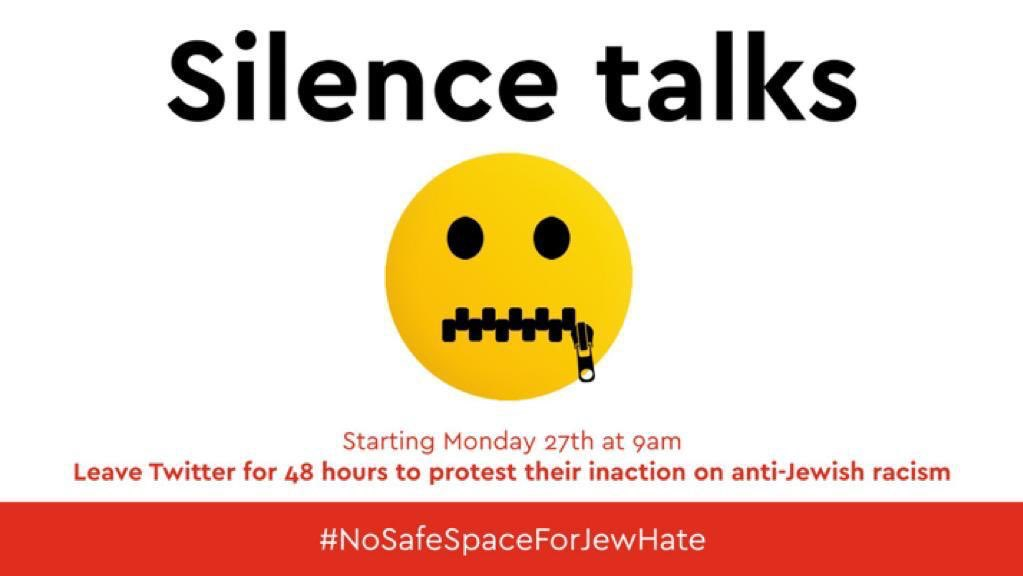 It seems that @twitter is ignoring antisemitism and Jew hate by enabling the likes of @WileyCEO to spread poison on their platform.  So from 9am today, let's show Twitter it has to act. Please join me on a 48 hour walkout.  #nospaceforjewhate