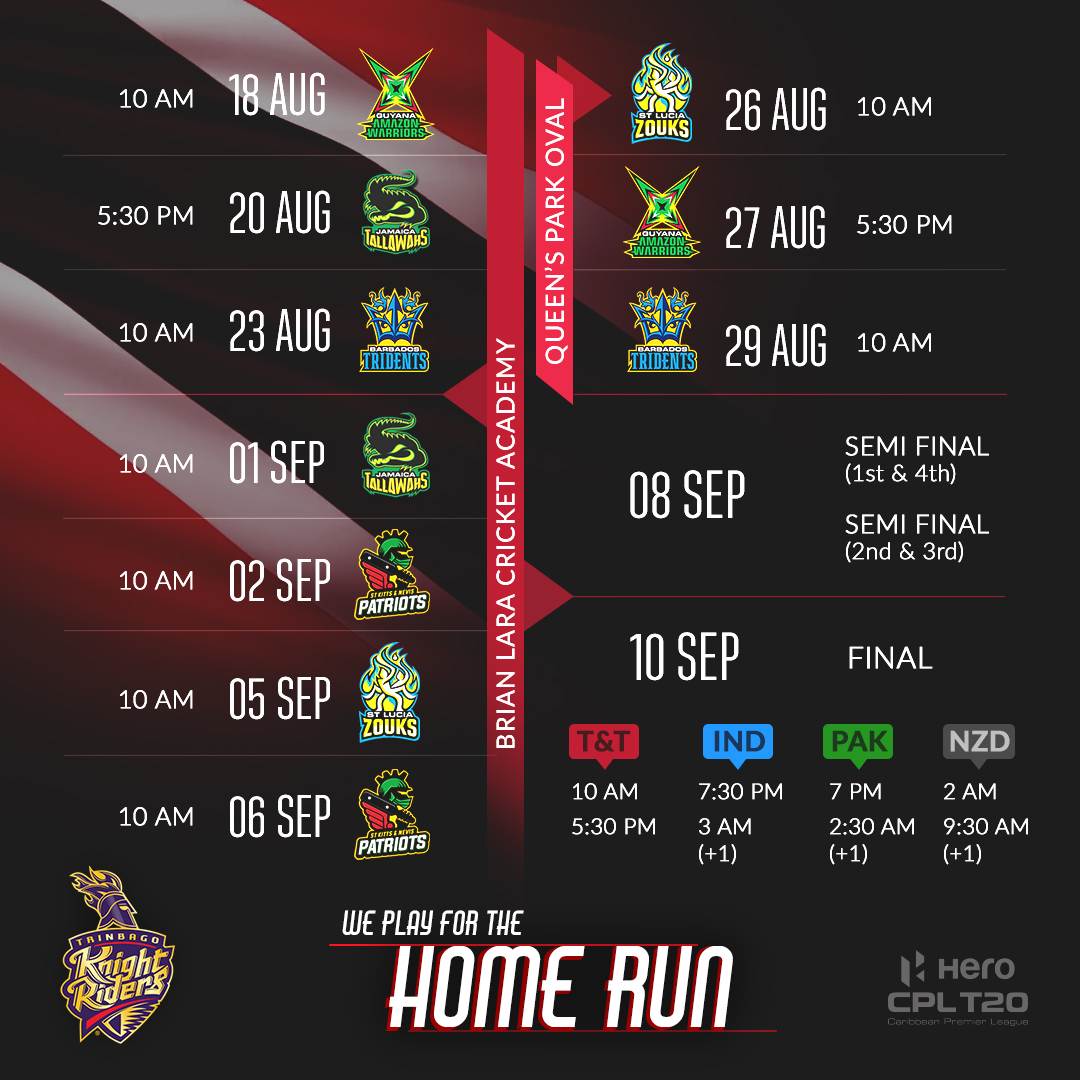 BREAKING: The dates are out! Get ready, as we play for #TheHomeRun 🇹🇹  August 18 - We take on GAW in the opening game of #CPL20 🔥  #TrinbagoKnightRiders #TKR #Cricket #CaribbeanPremierLeague #CricketIsBack