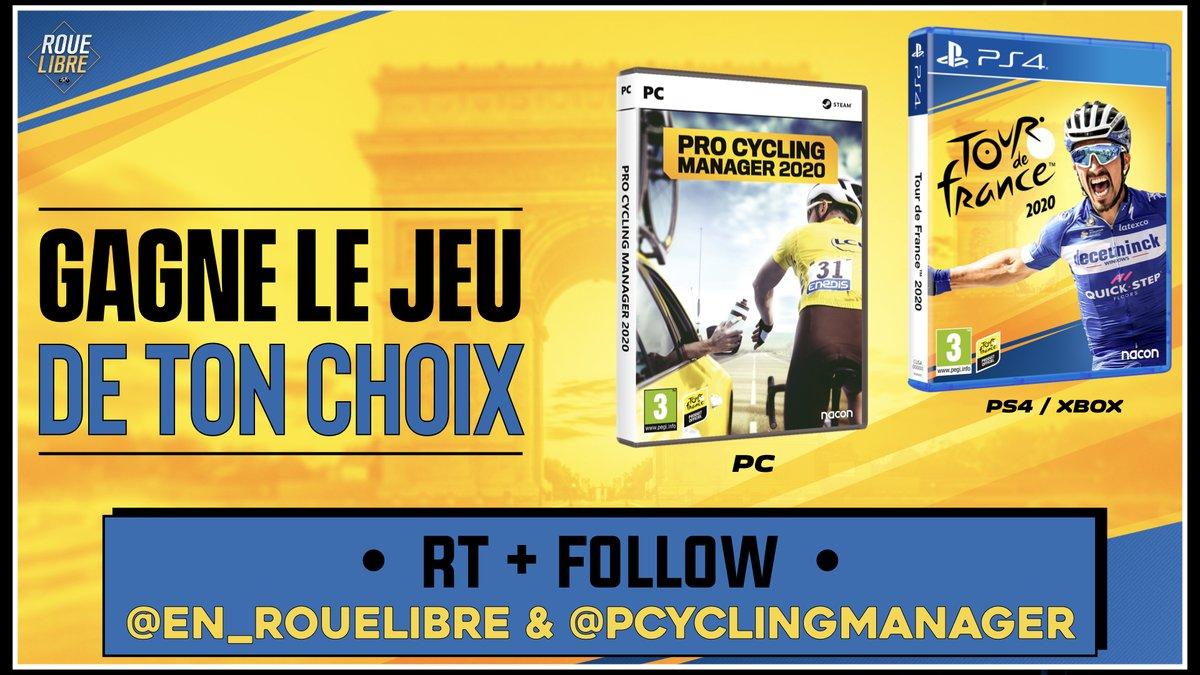 🚨🔥À l'occasion de la reprise de la saison, et de nos émissions, on vous offre le jeu de votre choix !  ▶️ PCM 2020 (PC) ▶️ Tour de France 2020 (PS4/Xbox)  Pour cela, RT + FOLLOW @en_rouelibre et @PCyclingManager et donne le jeux de ton choix en commentaire !   TAS le 4 aout !